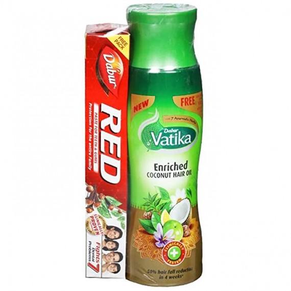 Dabur Vatika Coconut Hair Oil, 150 ml + Dabur Red Paste, 45gm FREE
