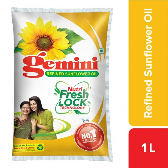 Gemini Sunflower Oil - With Nutri Fresh Technology, 1 L Pouch